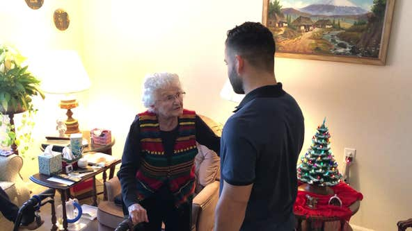 Houston Astros' Jose Altuve visits 100-year-old fan for her birthday