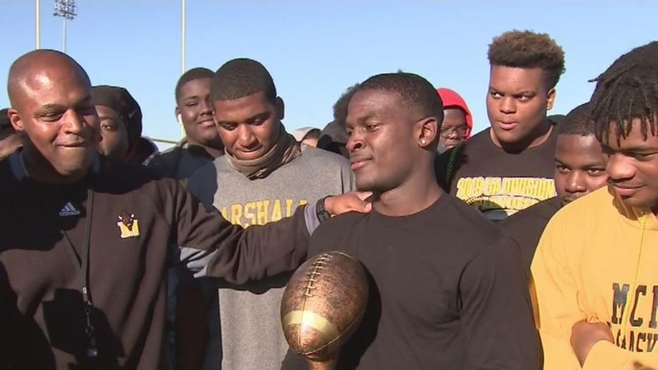 The Greater Houston Honda High School Player of the Year Award goes to Fort Bend Marshall Running Back Devon Achane.