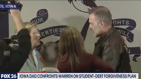 Elizabeth Warren confronted by Iowa dad about her student-debt forgiveness program- What's Your Point?