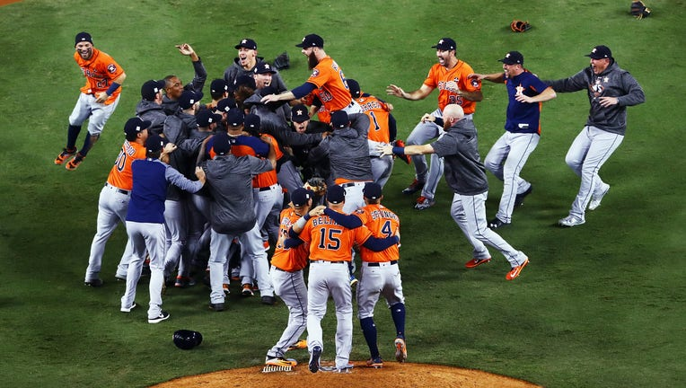 LOS ANGELES, CA - NOVEMBER 01: The Houston Astros celebrate defeating the Los Angeles Dodgers 5-1 in game seven to win the 2017 World Series at Dodger Stadium on November 1, 2017 in Los Angeles, California. (Photo by Tim Bradbury/Getty Images)