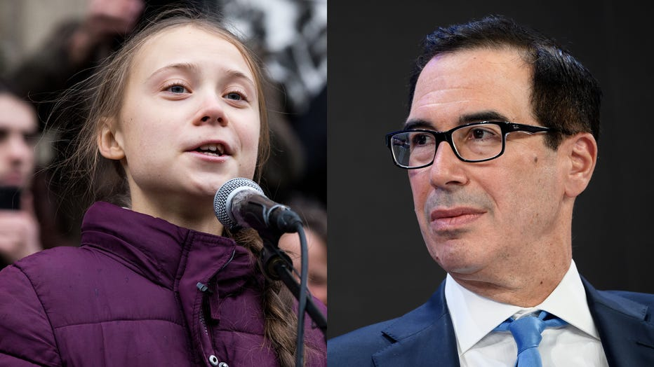 Swedish climate activist Greta Thunberg speaks to participants at a climate change protest on Jan. 17, 2020 in Lausanne, Switzerland, alongside U.S. Treasury Secretary Steven Mnuchin attending a session at the Congress center during the World Economic Forum annual meeting in Davos, on Jan. 21, 2020. (Photos by FABRICE COFFRINI/AFP & Ronald Patrick via Getty Images)
