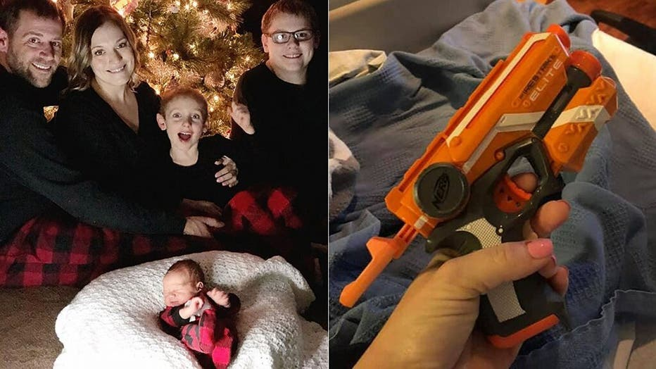 Samantha Mravik-Miller and family, pictured left, and the Nerf gun she jokingly brought to the hospital to keep her husband awake in December, pictured right.