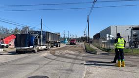 Diesel fuel leak from 18-wheeler shuts down east-side streets