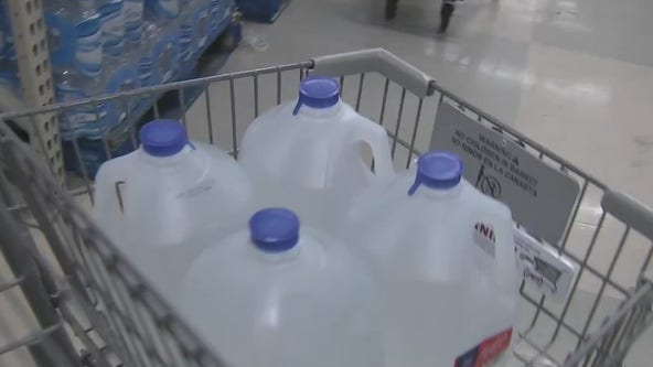 Water flying off the shelves at area supermarkets