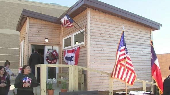 Students build and donate tiny home to Desert Storm veteran