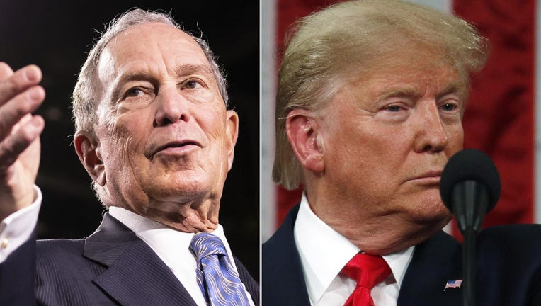 (l) Democratic presidential candidate former New York City Mayor Mike Bloomberg delivers remarks during a campaign rally on February 12, 2020 in Nashville, Tennessee. (Photo by Brett Carlsen/Getty Images) (r) U.S. President Donald Trump delivers the State of the Union address in the House chamber on February 4, 2020 in Washington, D.C. (Photo by Leah Millis-Pool/Getty Images)