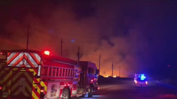 Large grass fire in Galveston