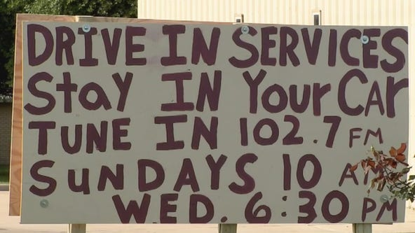 Church holds drive-in service for congregation