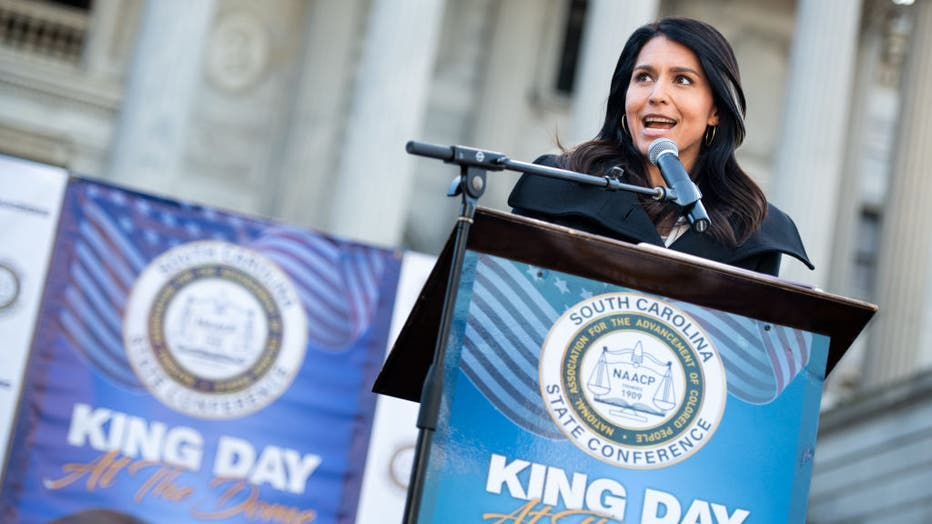 022cc6dd-Democratic Presidential Candidates Attend MLK Rally At South Carolina Capitol Dome