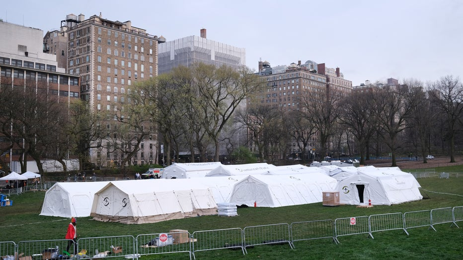 Emergency Hospital Setup In Central Park To Cope With Coronavirus Pandemic