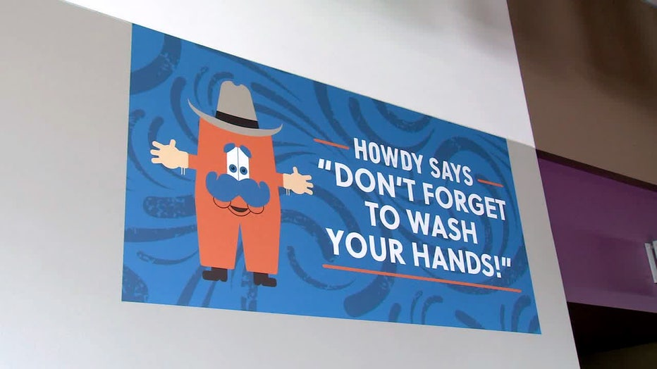 A sign at RodeoHouston reminds visitors to wash their hands.