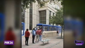 EXCLUSIVE: Long lines seen outside the Harris County criminal courthouse
