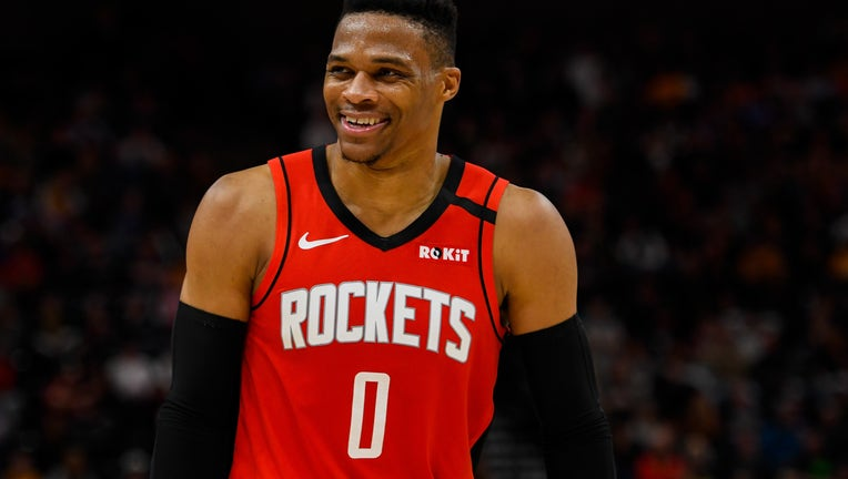 Russell Westbrook #0 of the Houston Rockets looks on during a game against the Utah Jazz at Vivint Smart Home Arena on February 22, 2020 in Salt Lake City, Utah.