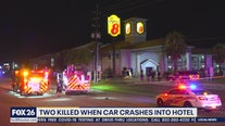 2 dead after car crashes into motel