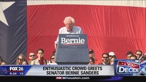 Enthusiastic crowd greets Senator Bernie Sanders