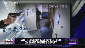 White security guard pulls gun on black sheriff's deputy
