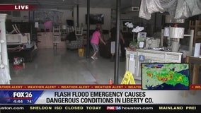 Flash flood emergency causes dangerous conditions in Liberty County