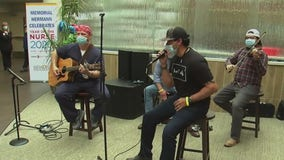 Band plays for healthcare workers at Memorial Hermann Hospital in the Woodlands