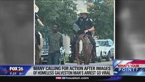 Galveston suspect led down the Strand tied with a rope by mounted officers