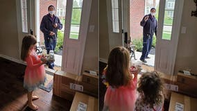FedEx driver surprises 6-year-old girl with cupcakes on quarantine birthday