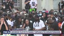 The Floyd family speaks in downtown Houston