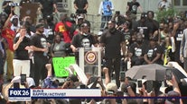 Bun B one of the organizers of Houston's George Floyd march speaking on steps of city hall