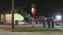 Vehicle crashes into building in Houston