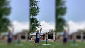 Nevada toddler shows off impressive baseball swing in back yard