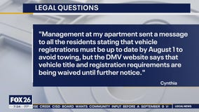 Your Legal Questions - Money market draw, vehicle registration