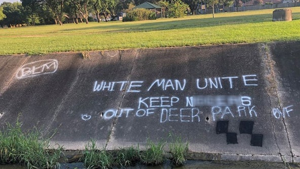 """WHITE MAN UNITE"": Police search for suspects behind racist graffiti in Deer Park"