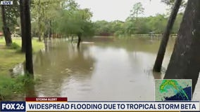 Live report from Dickinson Bayou near the Gulf Freeway (I-45)