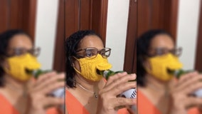 Woman crochets 'beer-friendly' face mask for easy access to alcoholic drinks