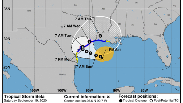 Tropical Storm Beta forms in the Gulf of Mexico, some voluntary evacuations being issued