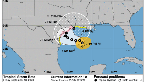 Tropical Storm Beta forms in the Gulf of Mexico, winds intensify to 60 miles per hour