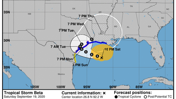 Tropical Storm Beta moving again in Gulf of Mexico, watches/warnings in effect in Houston area