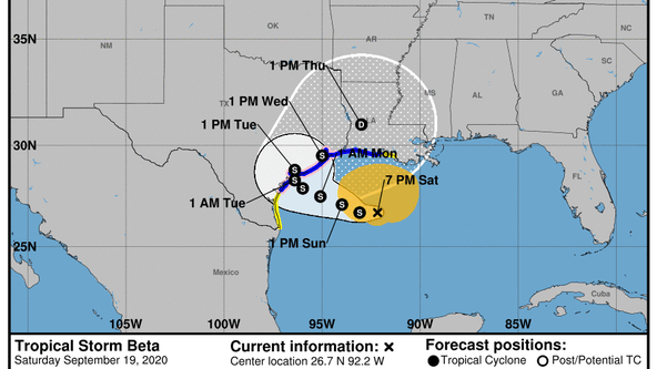Tropical Storm Beta now stationary in Gulf of Mexico, some voluntary evacuations being issued