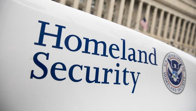 The Department of Homeland Security logo is seen on a law enforcement vehicle in Washington, D.C.