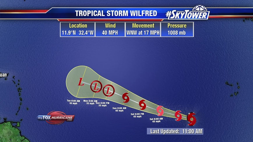 Tropical Storm Wilfred forms in Atlantic, followed by Alpha