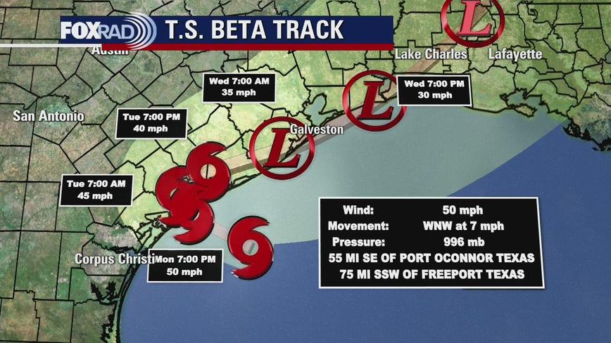 Tropical Storm Beta forecast to make landfall along Texas coast on Monday
