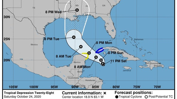 Tropical Depression 28 forms in Carribean, forecasted to become hurricane by Tuesday