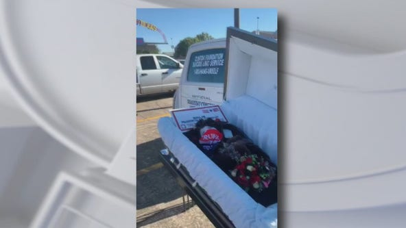 Trump supporters apologize for bringing casket to Biden rally