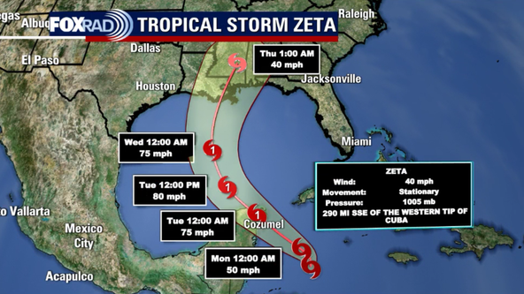 Tropical Storm Zeta forms in Caribbean, forecasted to become hurricane by Tuesday