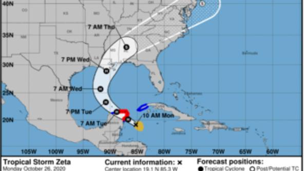 Zeta strengthens to a hurricane, forecasted to make landfall on Wednesday