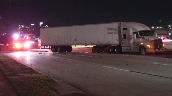 Man hospitalized in critical condition after crash involving Charger, 18-wheeler