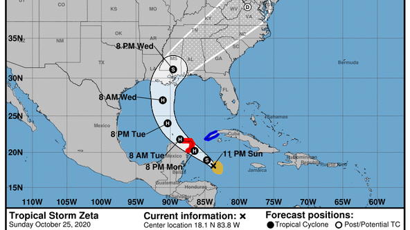 Tropical Storm Zeta forms in Caribbean, forecasted to make landfall on Wednesday