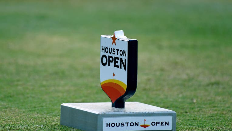 A tee marker on the 10th tee during the second round of the Houston Open at the Golf Club of Houston on October 11, 2019 in Humble, Texas.