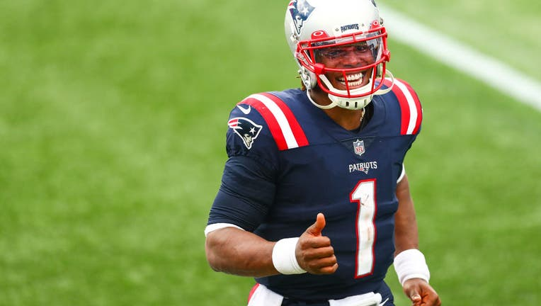Cam Newton #1 of the New England Patriots reacts after a win over the Las Vegas Raiders at Gillette Stadium on September 27, 2020 in Foxborough, Massachusetts.