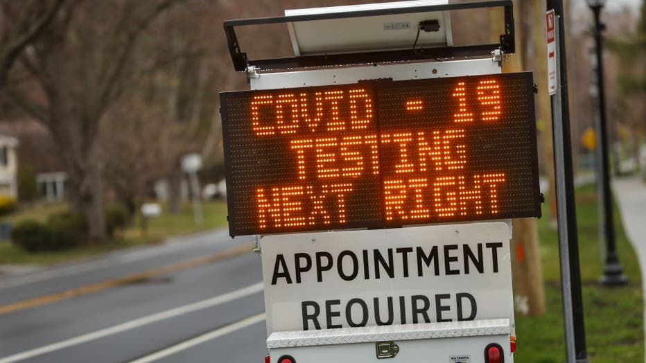 A Digital Sign Directing Patients to a COVID-19 Drive-Thru Testing Site at Stony Brook University