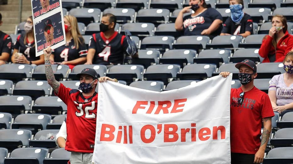 Houston Texans fans show there displeasure with head coach Bill O'Brien of the Houston Texans at NRG Stadium on October 04, 2020 in Houston, Texas.