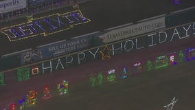 SkyFOX captures holiday lights being tested at Constellation Field